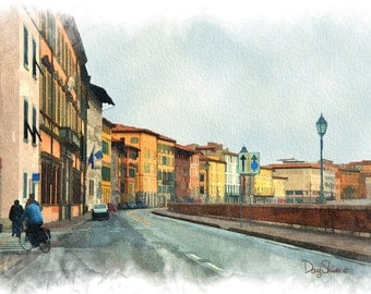 Florence Italy (Street Scene - Watercolor Print - 12x8 - Bicycle - Europe - Fine Art Print - Wall Decor)
