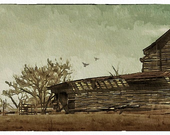 Barn Storm - (6x16 - Old Barn - country - rural - Browns - storm - Abandoned - Antique - Wall Decor)