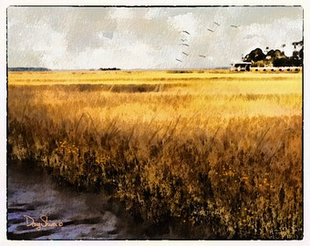 St. Mary's Marsh (Watercolor print - 8x10 - Marsh - Coastal - sea gulls - Wetlands - Ocean - Fine Art Print - Wall Art)