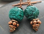 Carved Malachite and Copper earrings