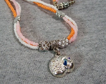 Orange, Pink and White Seed Bead Easter Egg Necklace - CLEARANCE