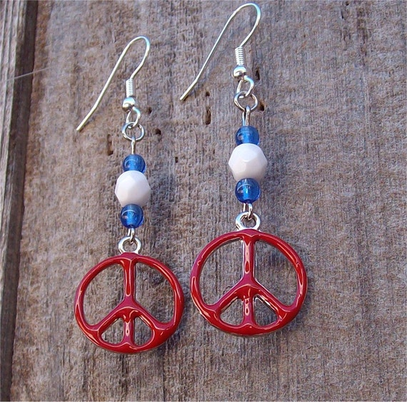 Red, White and Blue Peace Sign Earrings