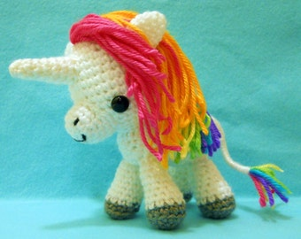 Rainbow Unicorn Custom Crochet Plush - Amigurumi Plush Art Doll - MADE TO ORDER