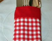 Utensil Silverware Holder Pouch Reusable Picnic Red Gingham Fabric