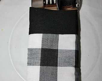 Utensil Silverware Pouch Holder Reusable Black White Checker Gingham Fabric