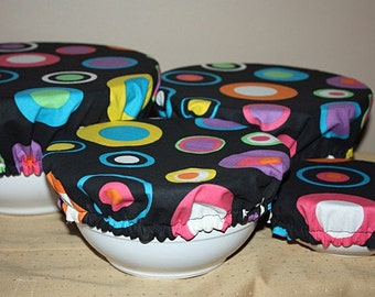 Reusable Food Bowl Container Elastic Picnic Cover Black Bright Color Circles Cotton Fabric (4 Piece)