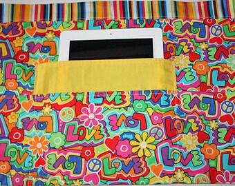 Vendor Half Waist Apron Craft Art Teacher iPad Colorful Retro Love Peace Fabric (4 Pockets)