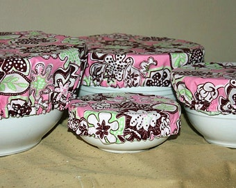 Fabric Food Bowl Reusable Lid Cover Bright Pink Green Brown Floral (4 Piece)
