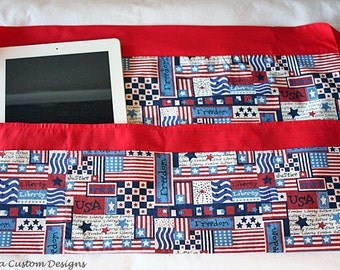 Vendor Cash Craft Teacher iPad Half Apron American Flag Americana USA Fabric (6 Pockets)