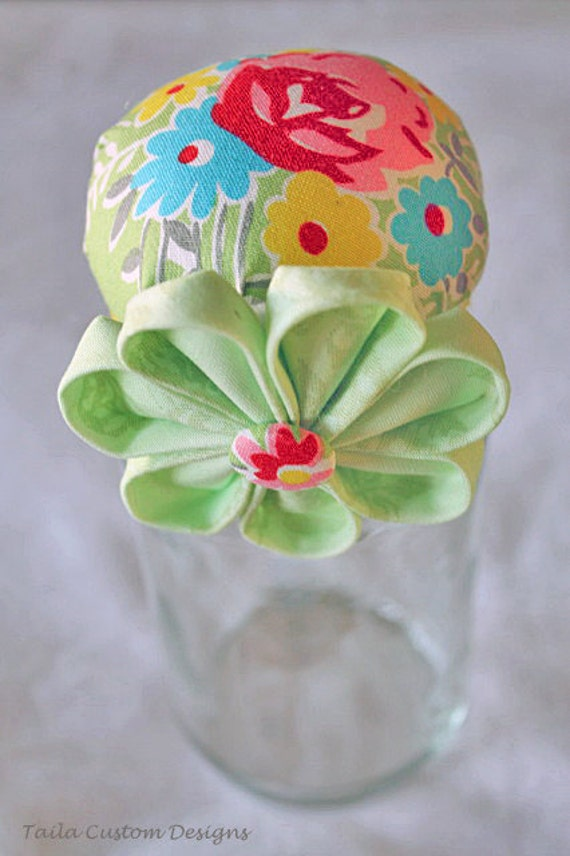 Sewing Pin Cushion Storage Upcycle Glass Container Jar Colorful Green Yellow Red Rose Fabric