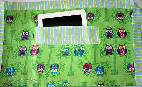 Vendor Teacher Craft Art Waist Half iPad Apron Green Blue Owl Fabric (4 Pockets)