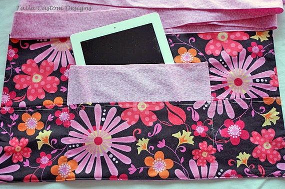 iPad Half Apron Vendor Craft Art Teacher Pink Brown Floral Flower Fabric (4 Pockets)