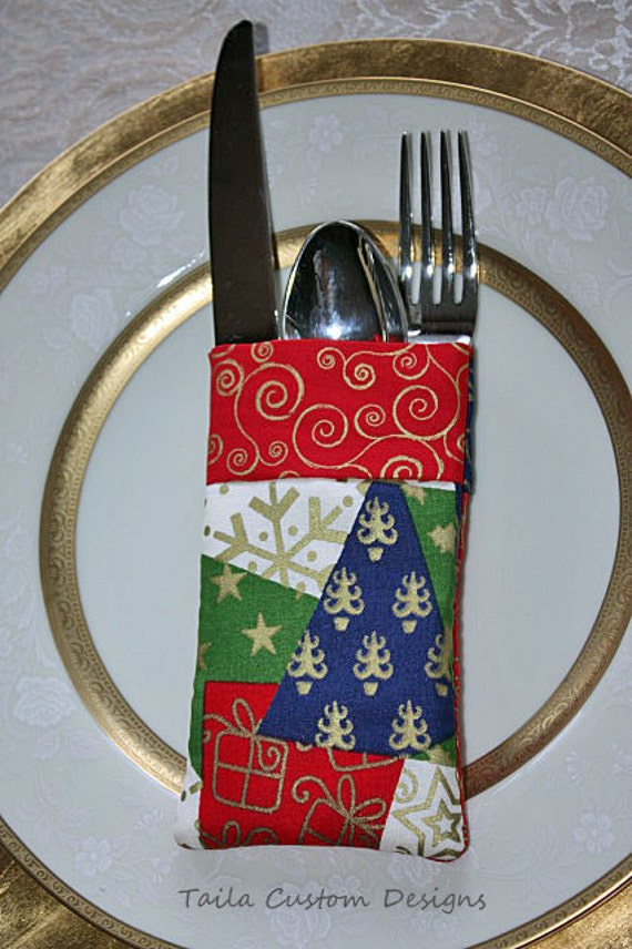Silverware Caddy Holder Red Green Gold Blue Patchwork Fabric Christmas Holiday (Set of 2)
