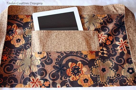Half Apron Craft Art Teacher Vendor iPad Brown Floral Flower Fabric (4 Pockets)