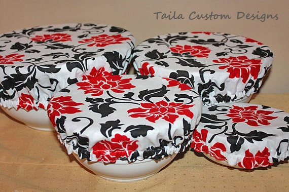 Reusable Picnic Food Bowl Covers in Red Black White polka Dots Flower Fabric (Set of 4)