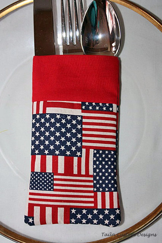 Utensil Holder Silverware Pouch American Flag Patriotic Fabric
