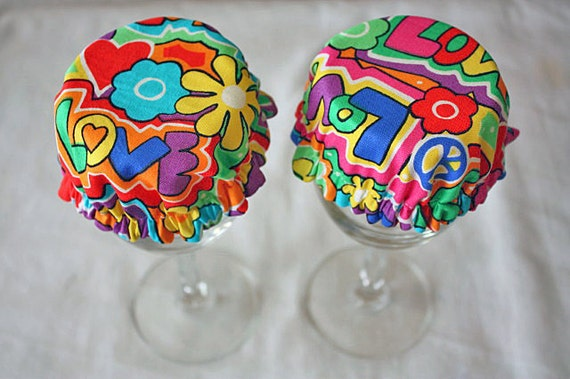 Reusable Wine Cup Glass Cover Bright Peace Daisy Love  Fabric