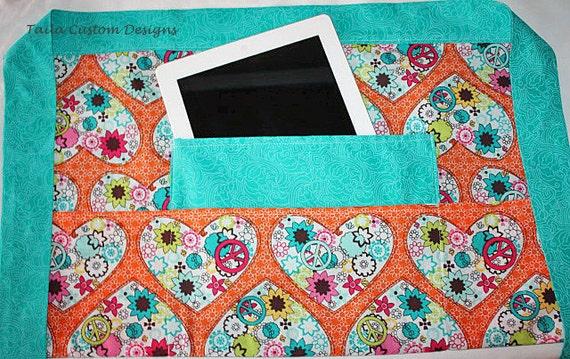 Teacher iPad Half Apron Vendor Craft Art Orange Heart Flower Turquoise Aquamarine Blue Fabric (4 Pockets)