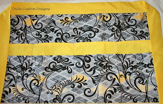 Vendor Apron Half Waist Teacher Art Craft Gray Grey Yellow Gold Fabric (8 Pockets)