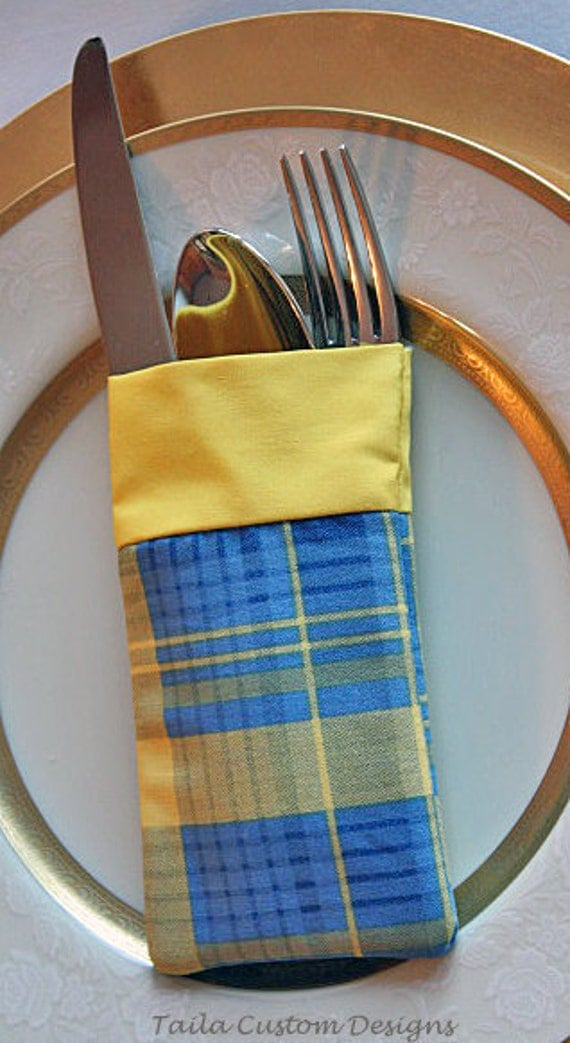 Utensil Silverware Holder Pouch Blue Yellow Plaid Fabric