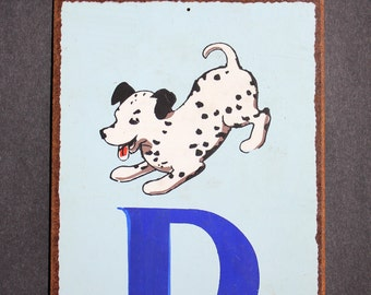 """Vintage Letter """"D""""  Flashcard Wall Plaque in Blue with Dalmation Dog"""