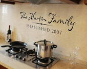 Personalized family established sign- Vinyl Wall Decal Wall Words Lettering Design - Family name with date established