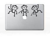 Computer Decal - Monkeys - for laptop - vinyl sticker Mac PC decal