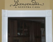 Bienvenidos A Nuestra Casa - Welcome to Our Home - Spanish Vinyl Wall Decal lettering art design