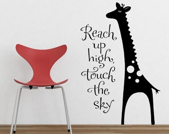 Reach up high, touch the ski with giraffe - vinyl wall decal