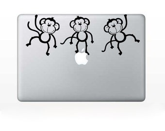 Computer Decal - Monkeys - for laptop - vinyl sticker Mac PC decal