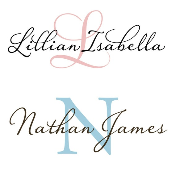 Large Baby Name and Initial Monogram for Nursery Vinyl Wall Decal