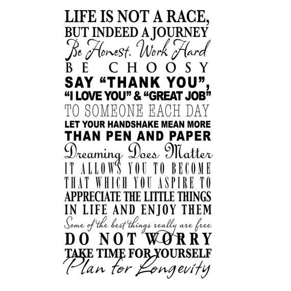 custom order for dmayk life is not a race vinyl wall decal