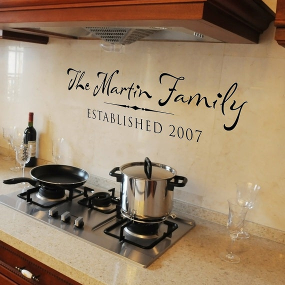 Family Name Wall Decal, Established Date, Family name with date established, personalized wall decal, Custom Wall Decal, Kitchen Quote