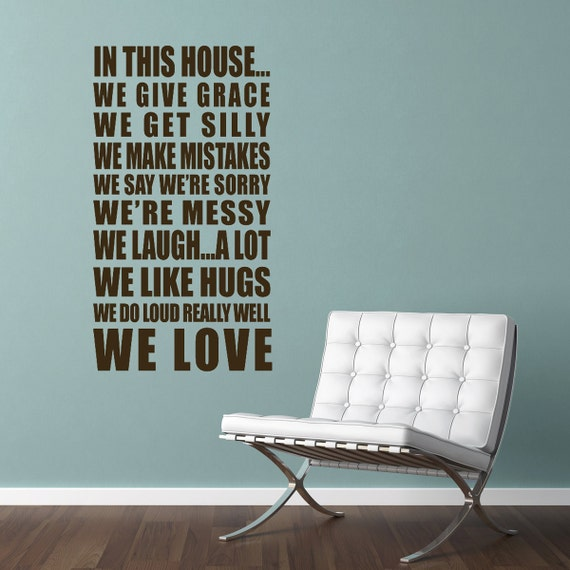 Vinyl Wall Decal Wall Sticker - House Rule Quote - In this house