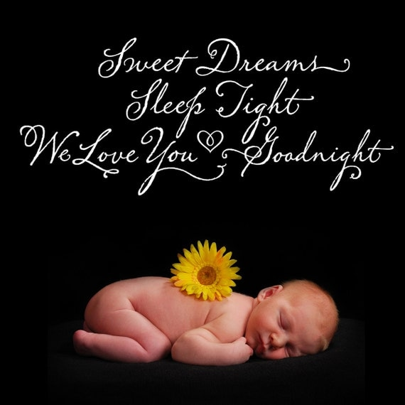 Sweet Dreams Sleep Tight...Vinyl Wall Decal Lettering Art Design Calligraphy Quote