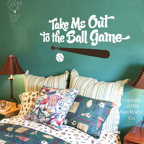 Baseball Wall Decal - Take me out to the ball game wall decal - Boys Room Wall Decal - Sports Wall Decal - Baseball Wall Decal