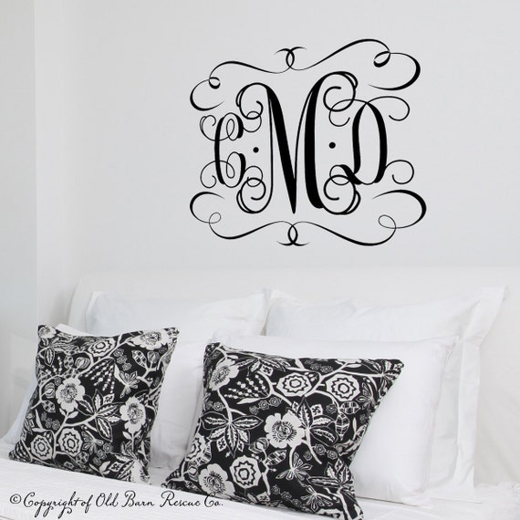 Large Vinyl Monogram Wall Decal - custom color - Monogram Decal - 3 letter initials