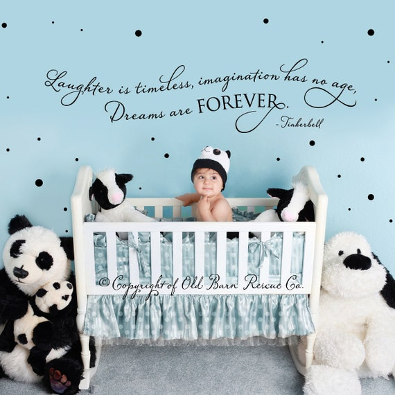Laughter is timeless, imagination has no age...Large tinkerball quote vinyl wall decal