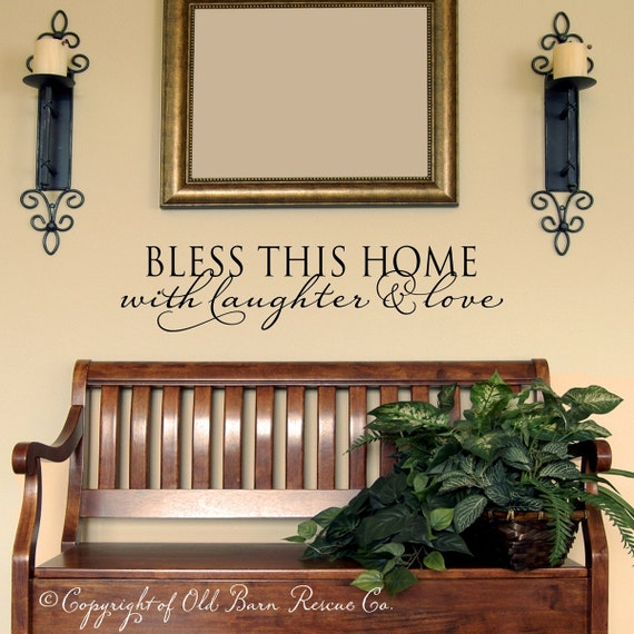 Bless this home with laughter and love - vinyl wall decal graphic design lettering art