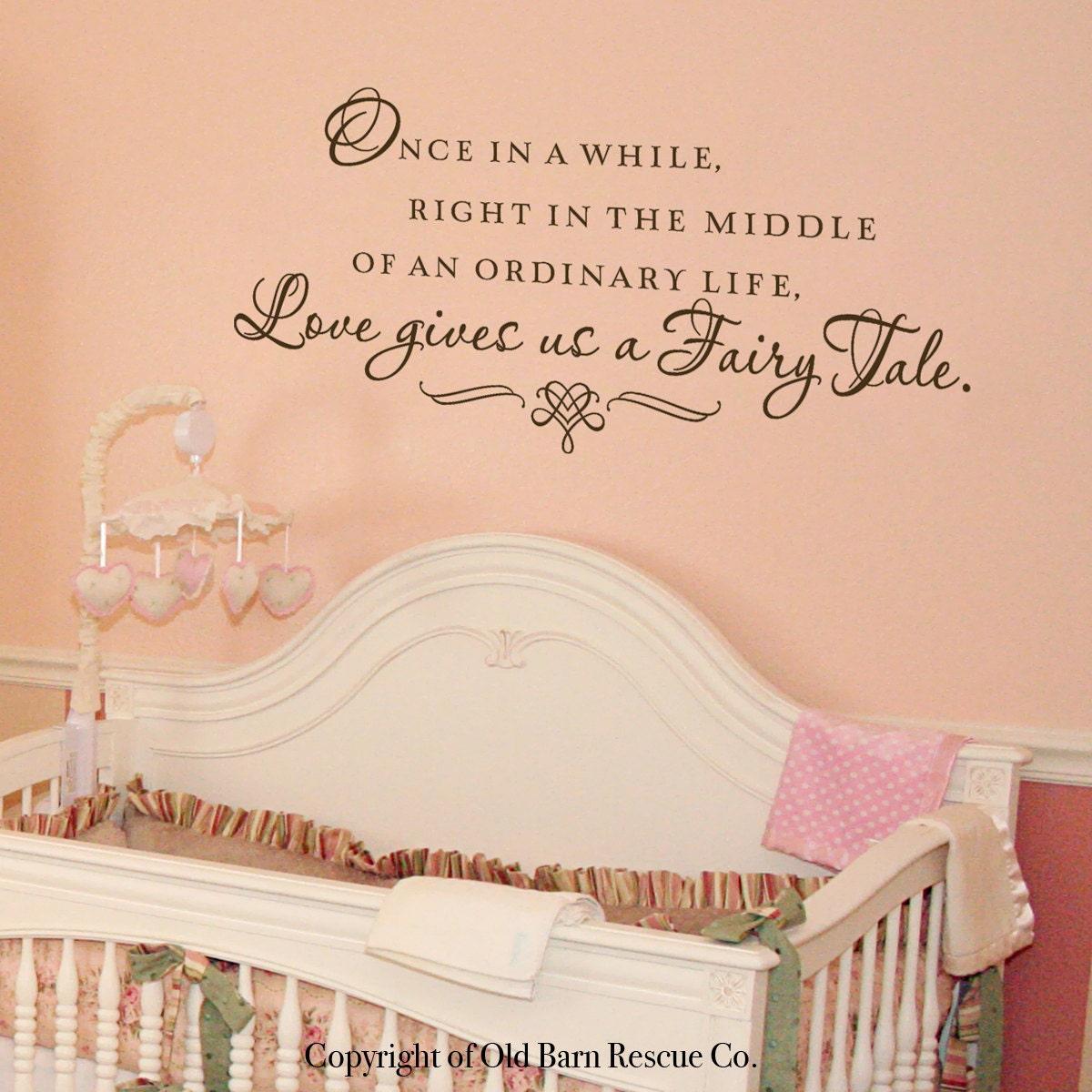 Penelope S Woodland Fairy Tale Nursery: Baby Wall Decals Love Gives Us A Fairy Tale Nursery Wall