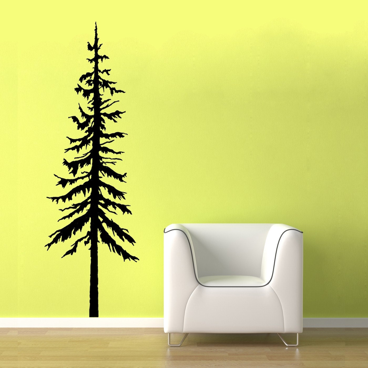 Sale large pine tree one grey vinyl wall graphic design for Tree wall art