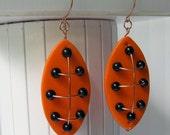 Modern Polymer, Copper, Obsidian Earrings Inspired By...