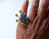Modern Yellow and Blue Beaded Ring
