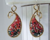 Beaded Paisley Earrings, pink ,orange, green, gold seed beads woven in a NuGold frame