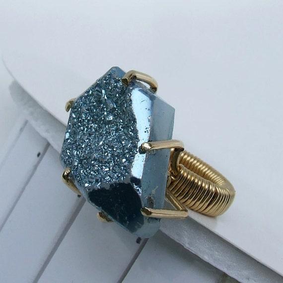 Blue Titanium Druzy Ring, Metallic blue titanium druzy on a wrapped red brass ring
