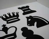 Die cuts Chess Pieces Silhouette Handmade Diecut Embellishments for Scrapbooks, Cards or Home Decor