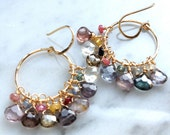 Smoky Sapphire Gold Hoop Earrings, multicolor sapphire drops and beads, handdcrafted 14k GF earwires