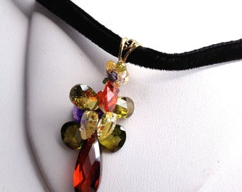 Amber Crystal Gold Pendant, multicolor crystal petals, 14k GF Filigree bail, cluster crystal drops