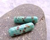 MruMru lampwork beads, earring set, borosilicate, boro glass beads. Tube Earrings.  Sra