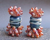 MruMru handmade lampwork beads, earring pair set.  Boro organic DUO. Sra